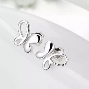 ADORABLE 925 SILVER BUTTERFLY STUD EARRINGS